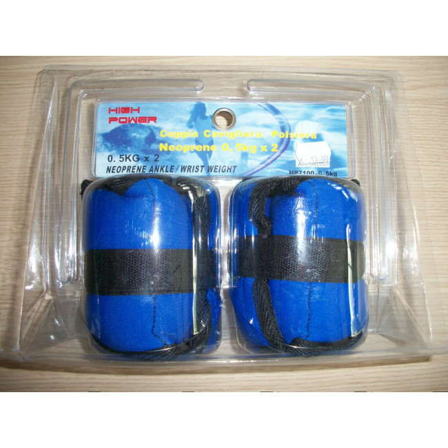 Coppia cavigliere polsiere neoprene 2 x 0,5 kg HIGH POWER cavigliera polsiera